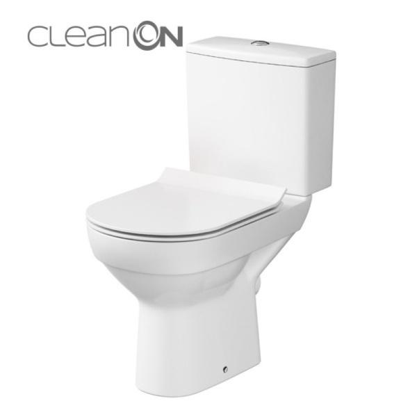 Cersanit City 010 monoblokkos kompakt WC perem nélküli, mélyöblítésű, hátsó kifolyású, oldalsó bekötésű (3/5) + Lecsapódás mentes slim duroplast tető