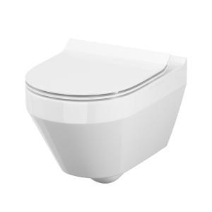 Cersanit Crea ovális, mélyöblítésű fali WC + Slim lecsapodás mentes. Easy-Off WC tető (S701-212)