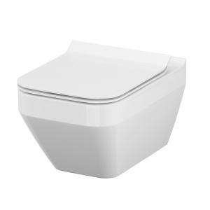 Cersanit Crea szögletes, mélyöblítésű fali WC + Slim lecsapodás mentes. Easy-Off WC tető (S701-213)