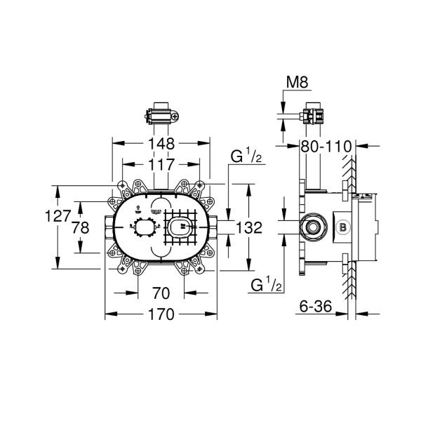 Grohe Rainshower 360 Beépítő Test Fejzuhany Szettekhez (26264001)