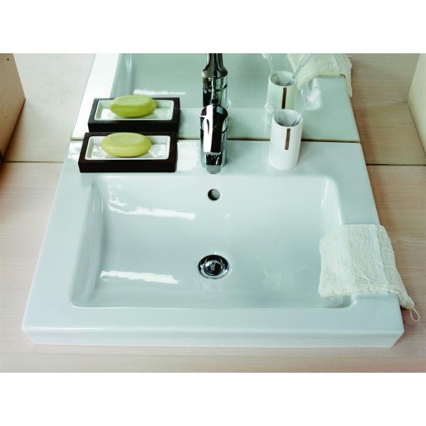 Alföldi  Liner Beépíthető mosdó 1 furattal középen, lehetőség 3 részes csapszerelvény elhelyezésére  (5109L1R1)- 61 x 47 cm