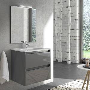 Sansa 60-As Fürdőszobabútor Fali, Antrachite Glossy Színben