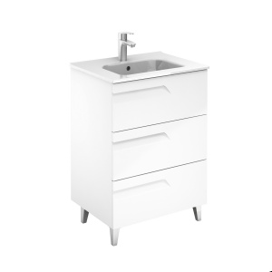 Royo Bannio Vitale 60-as fürdőszobabútor szett lábbal, Kyra 60 cm mosdóval ,White Glossy színben