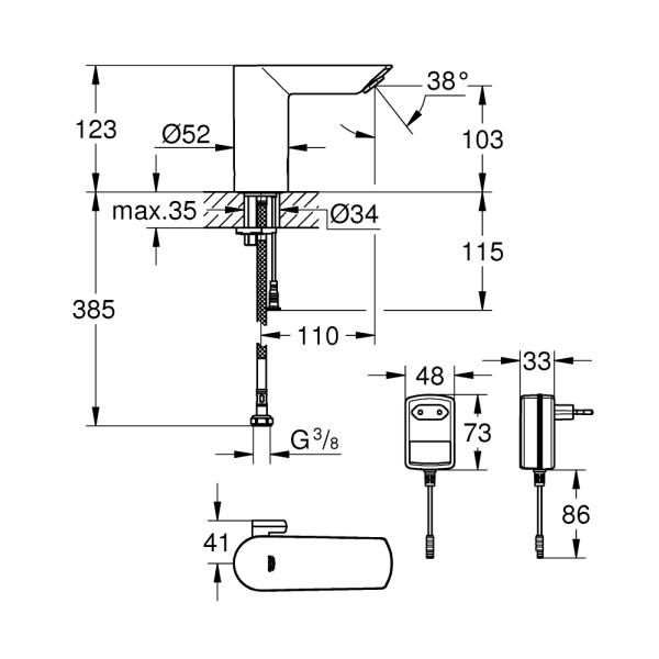 Grohe Bau Cosmopolitan E infrás mosdócsaptelep, állítható hőmérséklet szabályzóval (36453000)