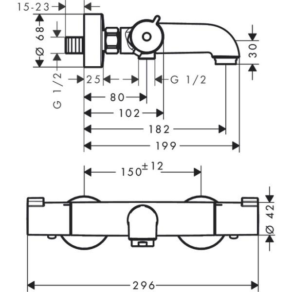 Hansgrohe Ecostat 1001  termosztátos kádcsaptelep falsíkon kivüli szereléshez