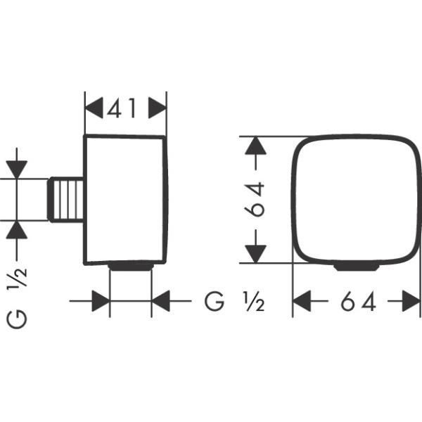 Hansgrohe Fixfit fali csatlakozás visszafolyásgátlóval és szintetikus gömbcsuklóval