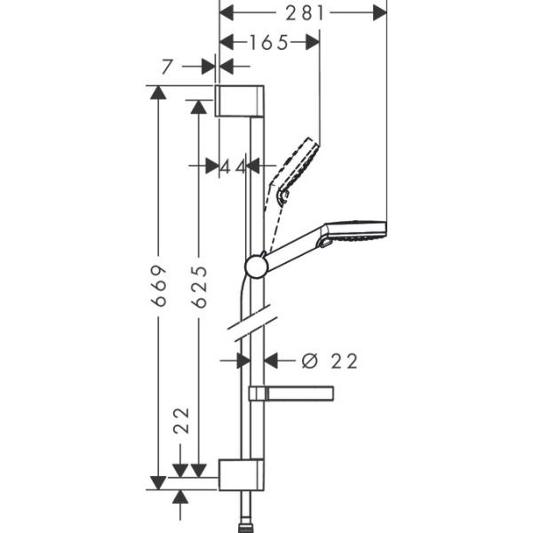 Hansgrohe Crometta Vario/Unica'Croma zuhanyszett Casetta 'C szappantartóval 0 65 m    fehér/