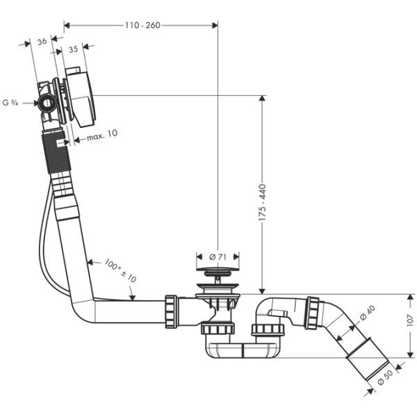 Hansgrohe Exafill S kádtöltő le- és túlfolyó-garnitúrával  komplett szett DN20