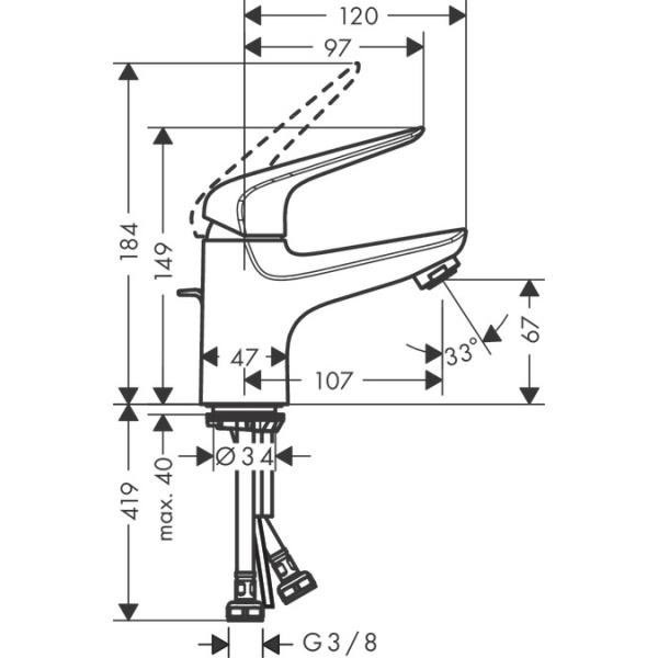 Hansgrohe NOVUS 70 mosdócsaptelep automata leersztő-garnitúrával