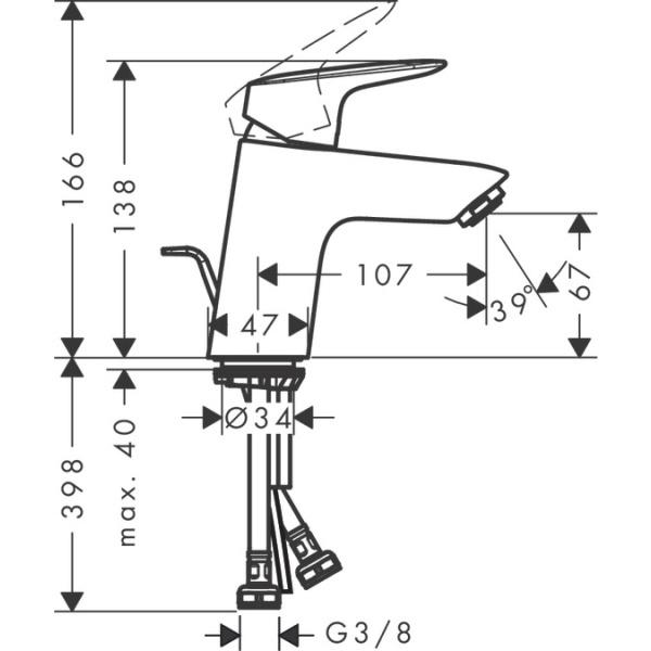Hansgrohe Logis 70 egykaros mosdócsaptelep automata lefolyó-garnitúrával