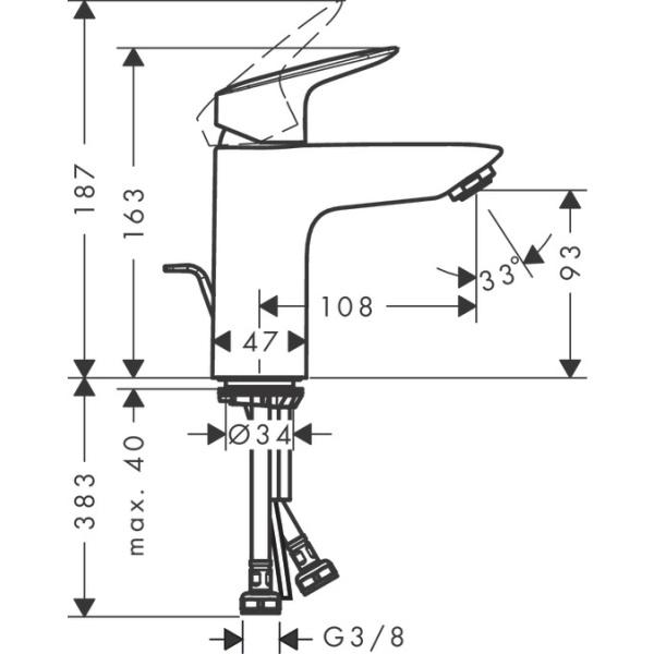 Hansgrohe Logis 100 egykaros mosdócsaptelep automata lefolyó-garnitúrával