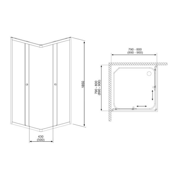 H2O Projecta Zuhanykabin 80x80-as, szögletes, átlátszó üveggel, tolóajtóval