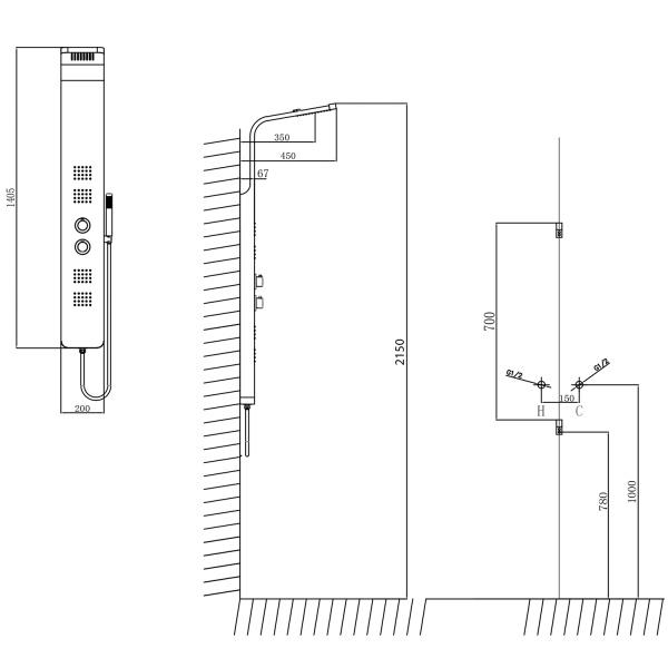 Sapho Prestige hidromasszázs termosztátos zuhanypanel (WN337)