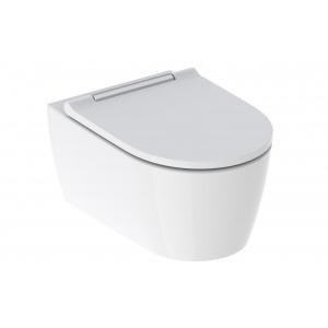Geberit ONE fali WC mélyöblítésű, TurboFlush, WC-ülőkével fényes króm betéttel 500.202.01.1
