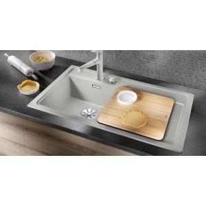 BLANCO ZENAR 45S Silgranit mosogatótálcák több színben,Balos medence, Fa vágódeszkával 860X510