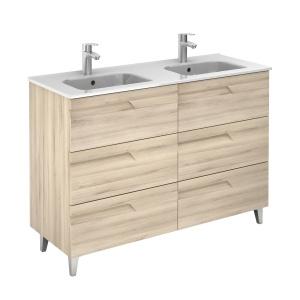 Vitale 120-As Fürdőszobabútor Lábbal, Kyra Dupla mosdóval, Nature Beige Színben