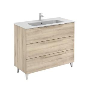 Bannio Urban 100-As Fürdőszobabútor szett, Nature Beige színben, Slim mosdóval