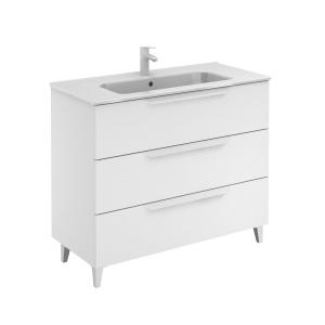 Bannio Urban 100-As Fürdőszobabútor szett, White Matt színben, Slim mosdóval