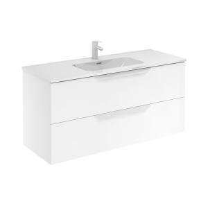 Bannio Urban 120-As Fürdőszobabútor szett, fali, White Matt színben, Enzo mosdóval