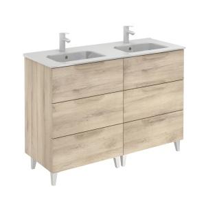 Bannio Urban 120-As Fürdőszobabútor szett, Nature Beige színben, Slim mosdóval