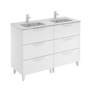 Bannio Urban 120-As Fürdőszobabútor szett, White Matt színben, Slim mosdóval