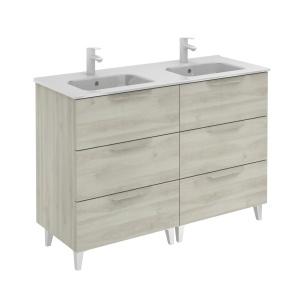 Bannio Urban 120-As Fürdőszobabútor szett, Nature White színben, Slim mosdóval