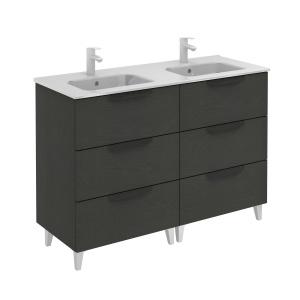 Bannio Urban 120-As Fürdőszobabútor szett, Nature Grey színben, Slim mosdóval