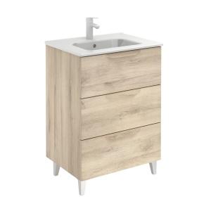 Bannio Urban 60-As Fürdőszobabútor szett, Nature Beige színben, Slim mosdóval