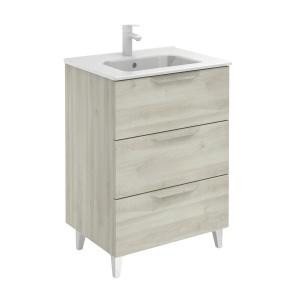 Bannio Urban 60-As Fürdőszobabútor szett, Nature White színben, Slim mosdóval