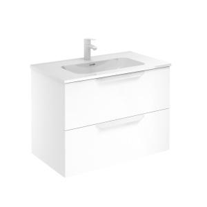 Bannio Urban 80-As Fürdőszobabútor szett, fali, White Matt színben, Enzo mosdóval