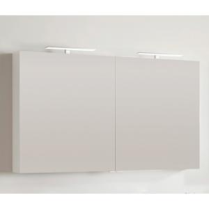 Amazonas Caligula 120x70-es, két ajtós tükör, fényes fehér színben, két L2 lámpával