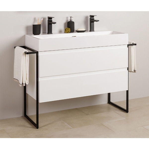 Amazonas Nero 100x46-os alsószekrény, fényes fehér színben, Marmy Bellagio mosdóval