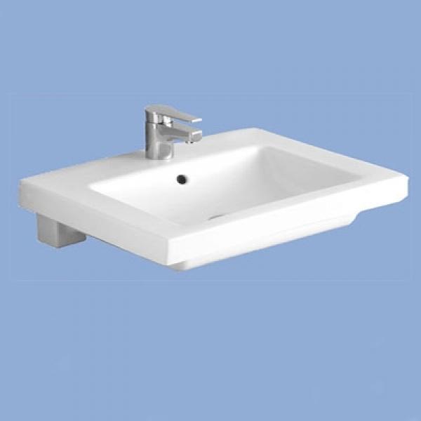 Alföldi  Liner Beépíthető mosdó 1 furattal középen, lehetőség 3 részes csapszerelvény elhelyezésére  (5125L1R1)- 66 x 49 cm