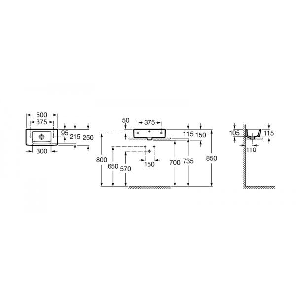 Roca Hall kézmosó falra vagy pultra szerelhető 50x25 cm A325883000