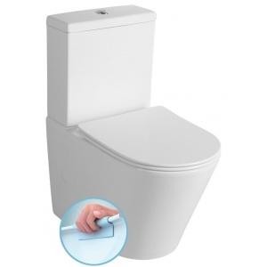 Sapho PACO RIMLESS kombi WC alsó/hátsó kifolyású, Soft Close ülőkével, tartállyal, 38x64cm, duálgombos öblítőmechanikával (PC1012R)